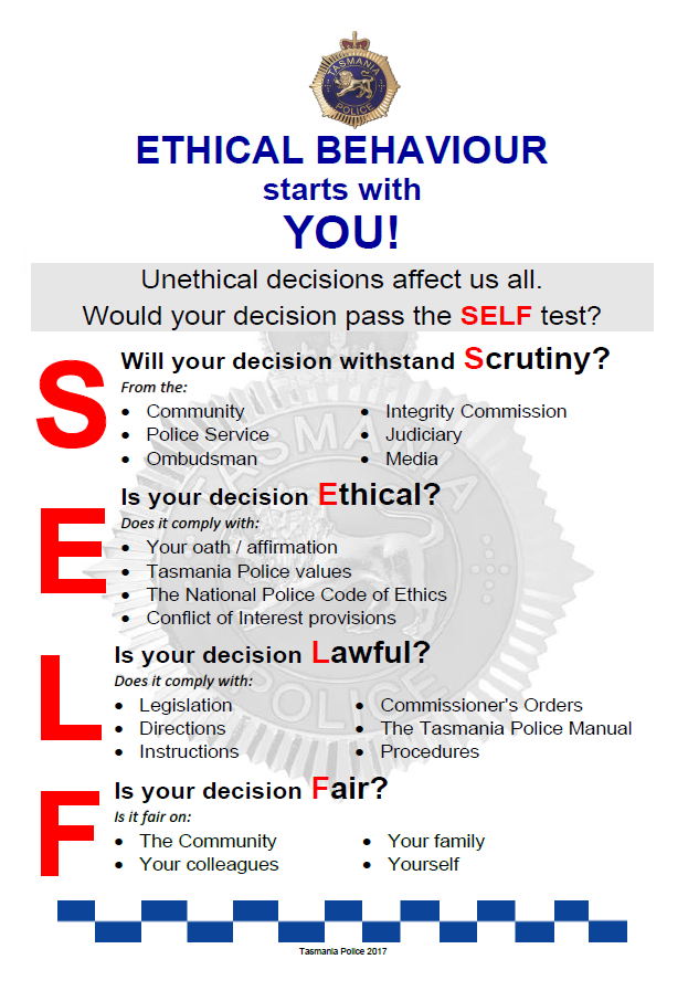 Abacus - SELF Test poster - Ethical Behaviour starts with You