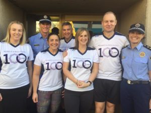"Members of the Department of Police, Fire and Emergency Management photographed in readiness for the City to Casino run. Some members in uniform others are wearing the 100 Years Women in Policing T-shirts which stated ""You got this"" on the back of the shirt."