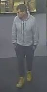 Police are wanting to identify and interview the man pictured below, who may have information about the theft of property from a shop in Ulverstone on 22 November and can assist with investigations.