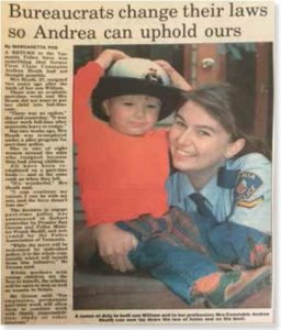 Constable Andrea Heath and son Edward in 1993 (courtesy of The Mercury Newspaper, Hobart)