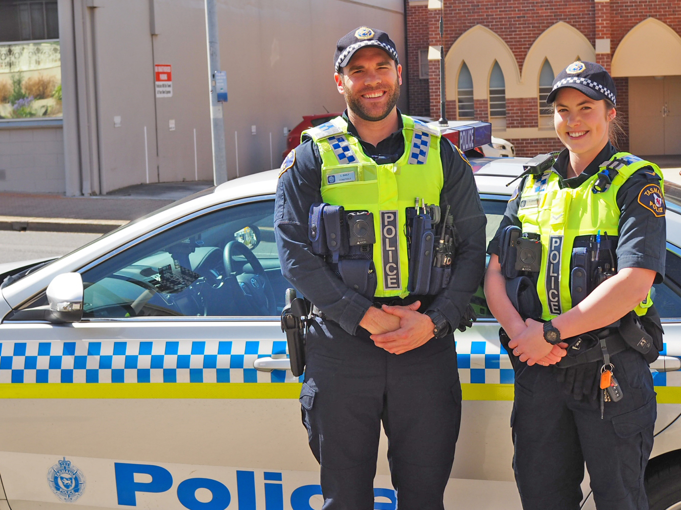 Constables Lee Baily and Annika Coles at Burnie launch of Body Worn Cameras