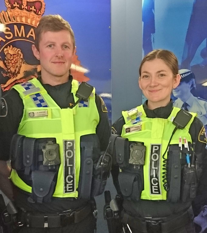 Constables Adam Upston and Harriett Green wearing Body Worn Cameras at launch in Launceston
