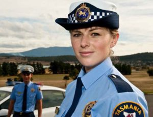 Constables Angus Dobner (left) and Freya Wilds at the Tasmania Police Academy