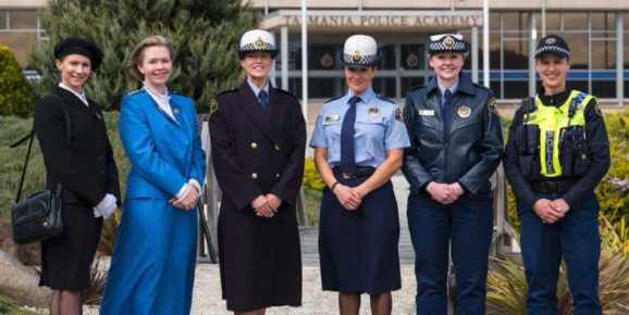 Uniforms throughout the years, from L to R: Senior Constable Tanya Dooley in pre-1960s uniform, Sergeant Brenda Orr in 1970s mess dress, Constable Jessica Callahan in 1980s uniform, Constable Ysanne Harper in 1990s uniform, Senior Constable Jillinda Mollon in 2000s uniform and Constable Rosie Helm in 2017 uniform.