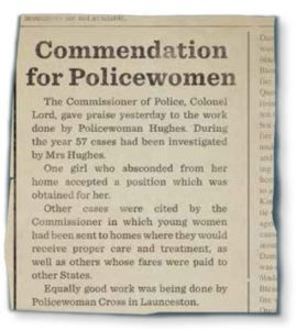 Great work by Policewomen Hughes and Cross, (recreated excerpt from The Mercury, 13 April 1920)