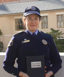 Now retired Senior Sergeant Kerrie Whitwam with her log book from the Franklin Dam blockade