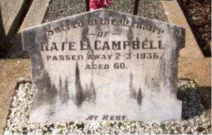 Kate Campbell's grave at St Albans, Victoria, before it was restored