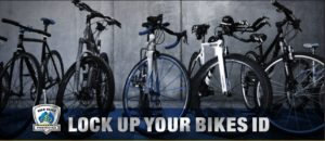 parked bicycles picture with Stolen Bikes Australia logo and lock up your bikes caption