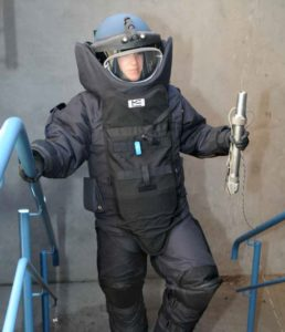 Constable Michelle Rybarczyk in her full bomb squad protective suit