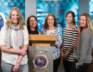 Media and Communications Unit Manager Lisa Stingel (far left) with her all-woman team L to R: Melanie Simmonds, Emma McGrath, Jemma Ball and Emma Boucher