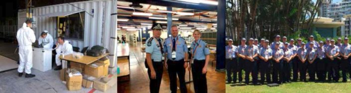 Left Searching the ruins, Honiara, Solomon Islands (courtesy Senior Sergeant Kerrie Whitwam), Middle Queensland Police Commissioner Ian Stewart with Inspector Peter Harriss and Inspector Kathy Bennett, Right The Tasmanian general duties G20 contingent in Brisbane