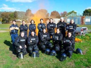 Former and current members of the Public Order Management Team (Rear L-R) – (Ex-Members Sergeant Deearna Rowe, Senior Constable Jenny Carlisle, Senior Constable Delayna Krelle) – Current members Senior Constable Megan Williams, Constable Anita Rattray, Senior Constable Despina Amerikanos, Senior Constable Chloe Carr, (Front L-R) Constable Frances Bonde, First Class Constable Amanda Hall, Senior Constable Sam Brady, Constable Annika Coles, First Class Constable Carly Lovell