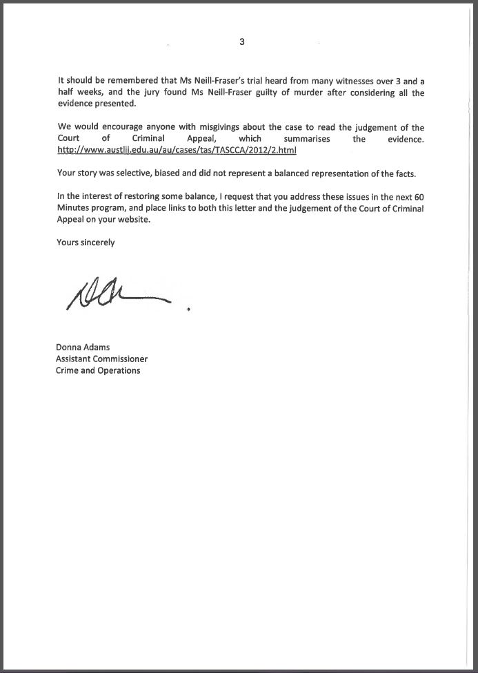 Response to claims made by the 60 Minutes program - Page 3