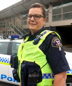 Sergeant Sally Cottrell outside Bellerive Police Station