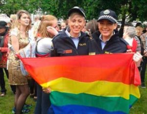 Senior Constable Desi Amerikanos and Constable Caitlin Cashion at the 2015 TasPride Parade (photography by Tracey Wing)