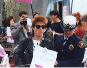 Protester under arrest in 1988 (courtesy of the Tasmanian Museum and Art Gallery)