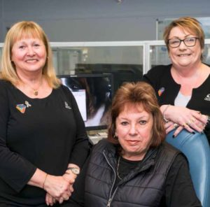 Switchboard operators Lesley McWatt, Vicki Burn and Patricia Clark
