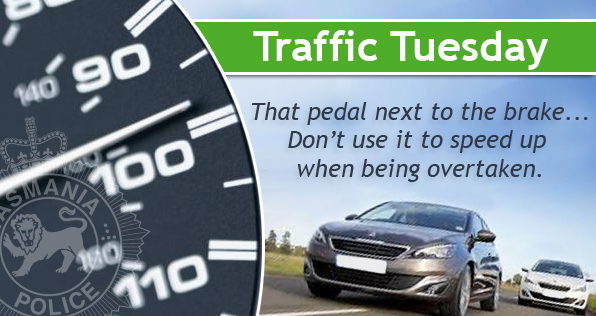 Traffic Tuesday graphic - Don't Speed Up While Being Overtaken