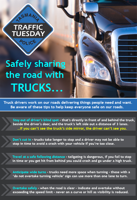 Traffic Tuesday graphic - Safely sharing the road with trucks