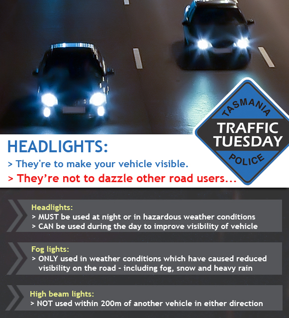 Traffic Tuesday graphic - headlights