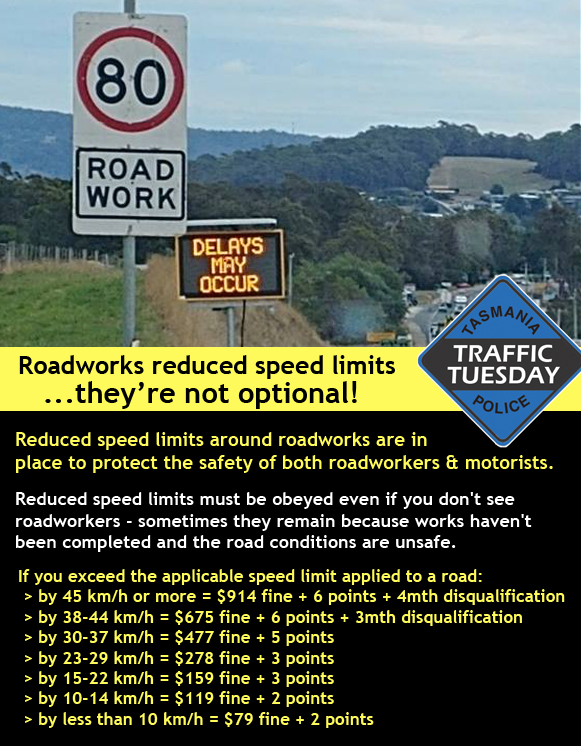 Traffic Tuesday infographic for Roadworks reduced speed limits