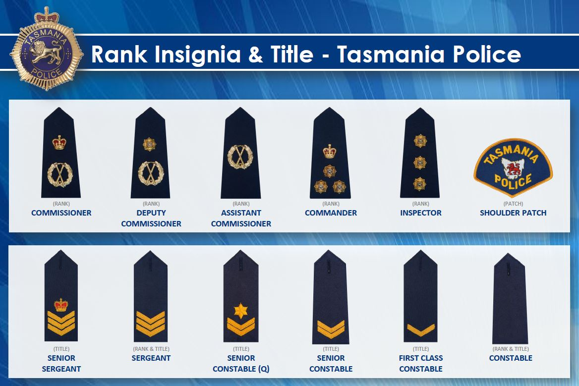 Law Enforcement Ranks >> Rank Insignia And Title Tasmania Police