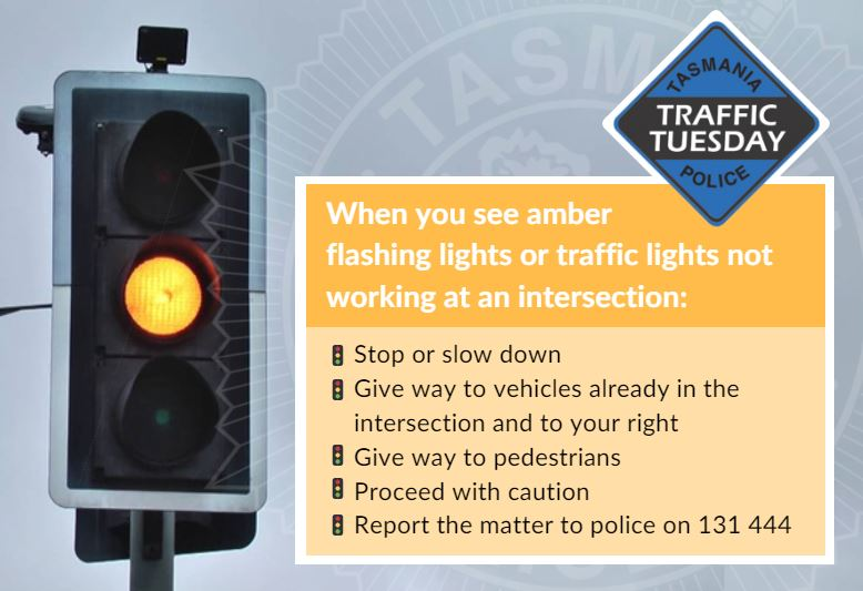 Traffic Tuesday infographic for amber flashing lights or lights not working at an intersection