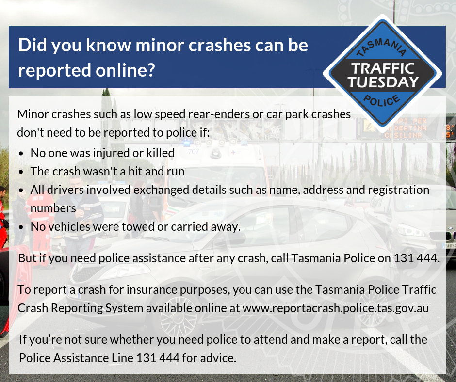 Did you know minor crashes can be reported online?
