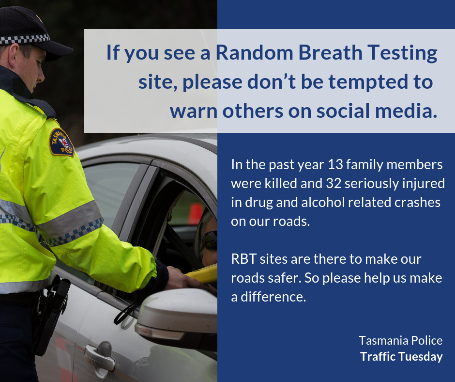 #57 - If you see a Random Breath Testing site, please don't be tempted to warn others on social media