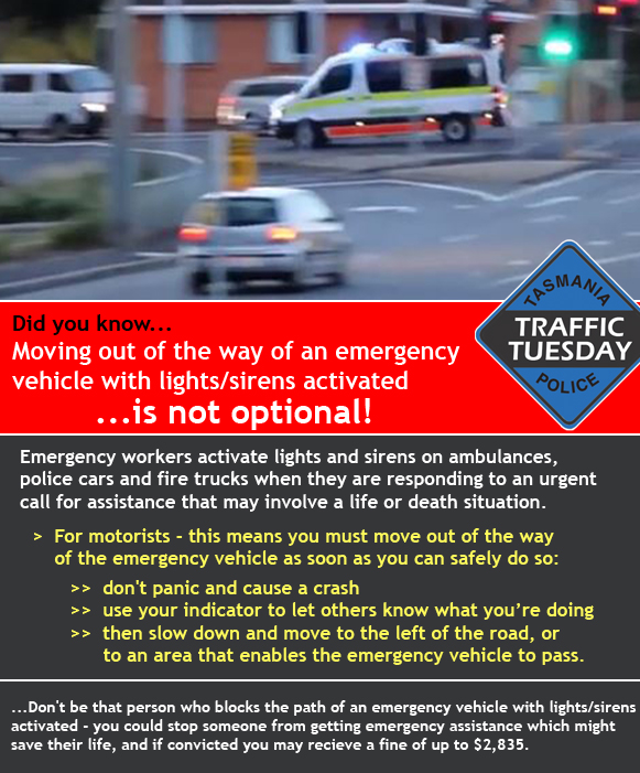 Traffic Tuesday infographic Emergency Vehicles