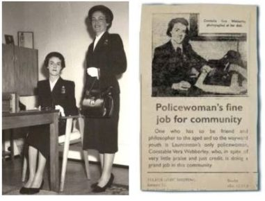 Left Policewomen Vera Webberley and Joy Grist. Right Constable Vera Webberley (recreated excerpt from The Examiner, 30 June 1945)