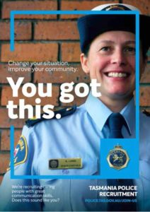 "The ""You got this"" poster, featuring Senior Constable Anna Lang"