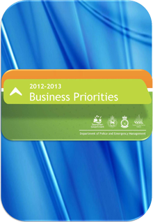 DPEM Business Priorities 2012-2013 document cover page.