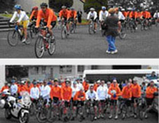 Two images of participants in the Tasmania Police Charity Trust Annual Bike Ride held between 28-30 November 2008 for Down Syndrome Tasmania.