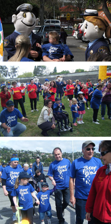Participants in the Down Syndrome Tasmania Buddy Walk Tasmania Police Charity Trust event.