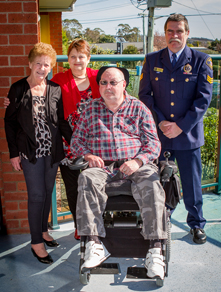 TPCT support/assistance recipient Gary Munday photographed with his new wheelchair