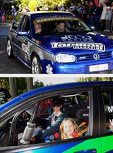 Tasmania Police Charity Trust Kids Kick Start Targa event held at the Country Club Casino on 25 April 2010. Images display children in Targa race-prepared vehicles.