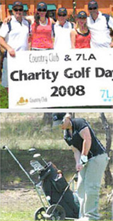 Two images of participants at the LAFM Tasmania Police Charity Trust Golf Day held on 12 November 2008 at Country Club Tasmania. One image is of a group of participants holding a banner, the other is of a female participant hitting a golf ball.