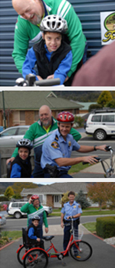 Three Tasmania Police Charity Trust images of a Tasmania Police Officer and Kevin Smith of Kevs Tricycle Hire & Sales at Prospect donating a specially made three wheeled tricycle to Luke Spencer on 9 October 2009.