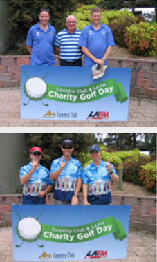 Two images of participants at the Tasmania Police Charity Trust Northern Charity Golf Day held on 11 November 2009 at the Country Club Tasmania. Images display groups of participants standing in front of a Charity Golf Day sign.