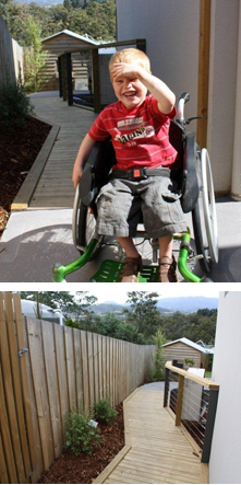 Samuel King in his wheelchair on his newly installed deck and pathway donated by the Tasmania Police Charity Trust.