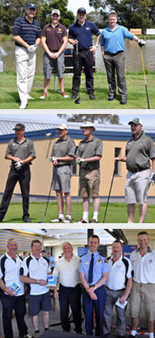 Three images of participants at the Tasmania Police Charity Trust and Telstra Country Wide Southern Golf Day held on 6 November 2009 at the Tasmania Golf Club. Images display groups of participants standing with their golf clubs.