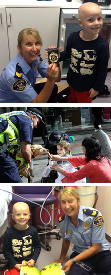 4 year old lukaemia patient Trystan, who was a recipient of Tasmania Police Charity Trust support in December 2012.