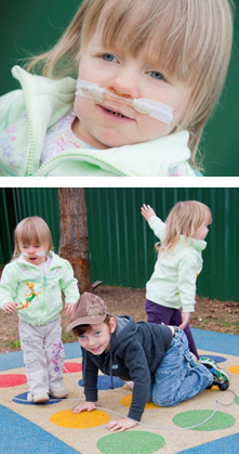 Photos of Ella Munnings playing with her brother and sister on teh play equipment provided by the Charity Trust.