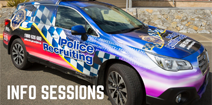 Police Recruitment Info Sessions graphic of police car